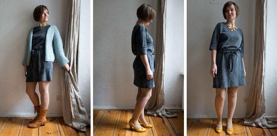 Kleid Imani – frühlingsgrau geblümt