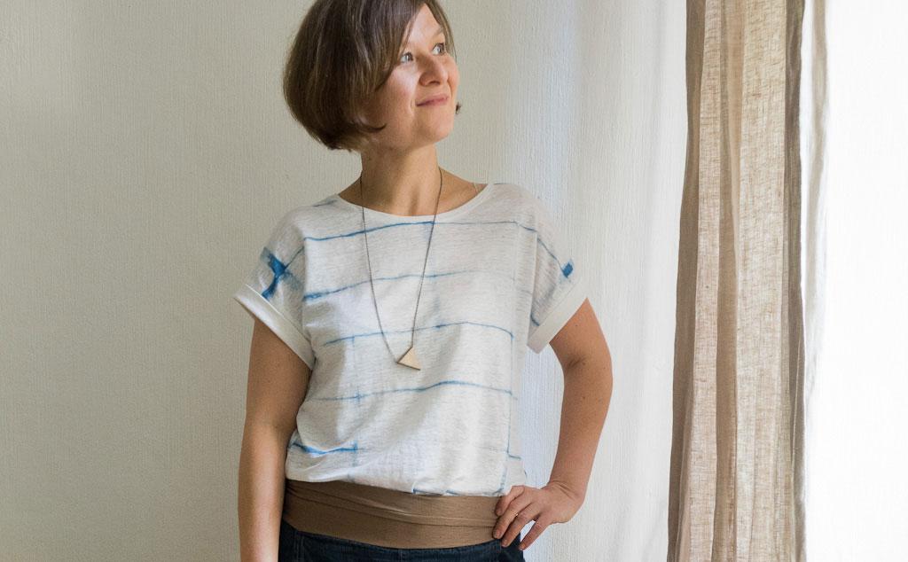 Japanisches Shibori Shirt aus Leinen